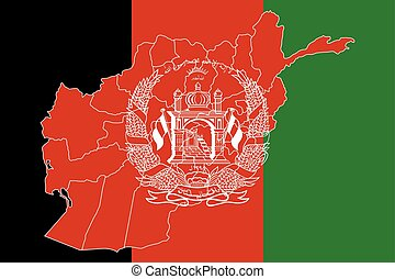 Map and flag of Afghanistan. Vector illustration. World map