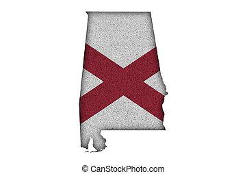 Map and flag of Alabama on felt