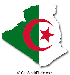 Map and flag of Algeria - A 2D illustration of a map with...
