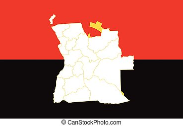 Map and flag of Angola