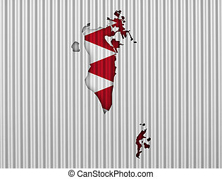 Map and flag of Bahrain on corrugated iron