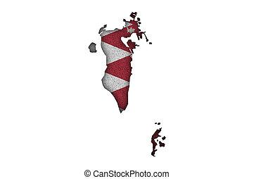 Map and flag of Bahrain on felt
