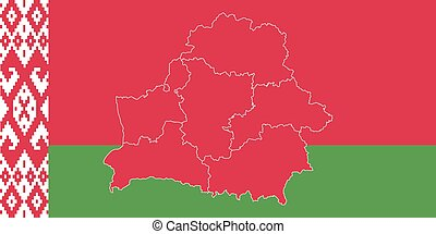 Map and flag of Belarus