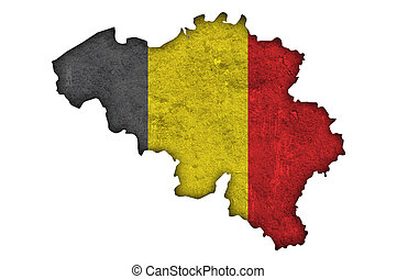 Map and flag of Belgium on weathered concrete
