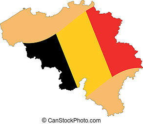 Map and Flag of Belgium Vector EPS
