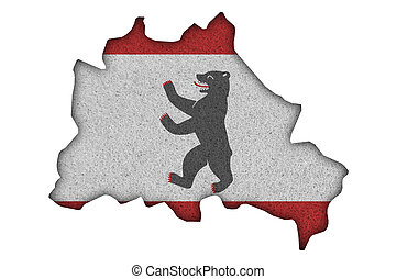 Map and flag of Berlin on felt