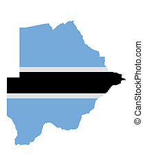 Map and flag of Botswana