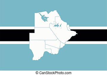 Map and flag of Botswana