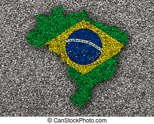 Map and flag of Brazil on poppy seeds