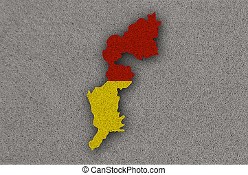 Map and flag of Burgenland on felt