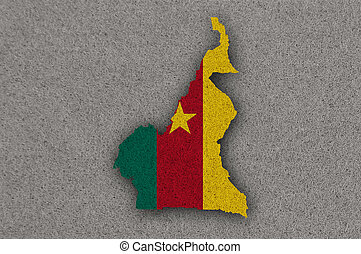 Map and flag of Cameroon on felt