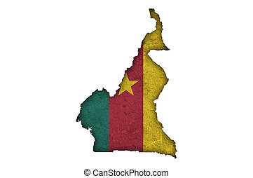 Map and flag of Cameroon on weathered concrete