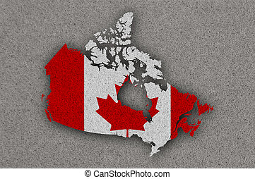Map and flag of Canada on felt