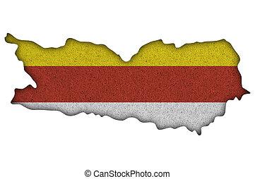 Map and flag of Carinthia on felt