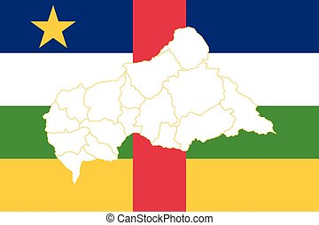 Map and flag of Central African Republic