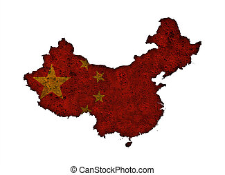 Map and flag of China on rusty metal