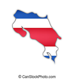 map and flag of costa rica with shadow on white background