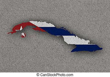 Map and flag of Cuba on felt