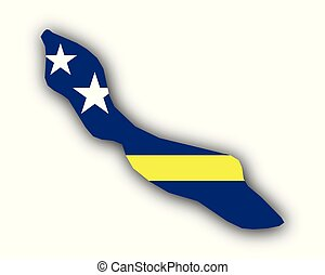 Map and flag of Curacao