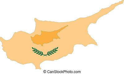 Map and Flag of Cyprus Vector EPS