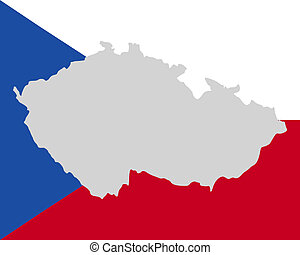 Map and flag of Czech Republic