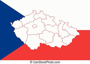 Map and flag of Czech Republic. Vector illustration. World...