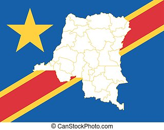Map and flag of Democratic Republic of the Congo