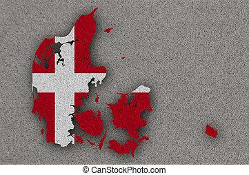 Map and flag of Denmark on felt