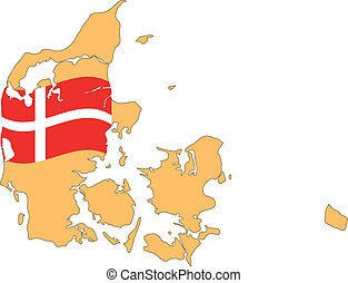 Map and Flag of Denmark Vector EPS