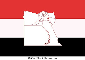 Map and flag of Egypt