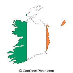 eire - map and flag of eire