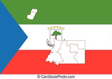 Map and flag of Equatorial Guinea