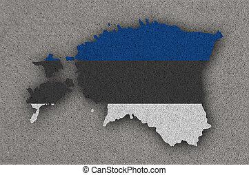Map and flag of Estonia on felt