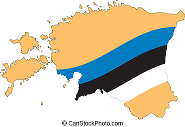 Map and Flag of Estonia Vector EPS