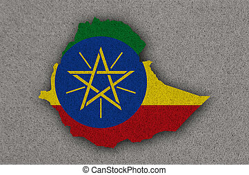 Map and flag of Ethiopia on felt