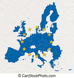 map and flag of European Union on white handmade paper ...