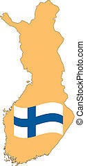 Map and Flag of Finland Vector EPS