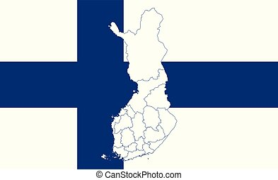 Map and flag of Finland