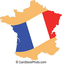 Map and Flag of France Vector EPS