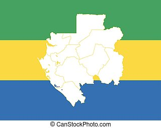 Map and flag of Gabon