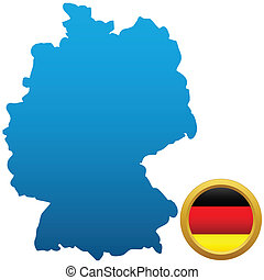 Germany - Map and flag of Germany on a white background
