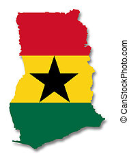 A 2D illustration of a map with a flag of Ghana