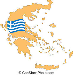 Map and Flag of Greece Vector EPS