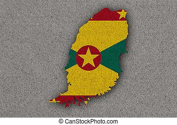 Map and flag of Grenada on felt