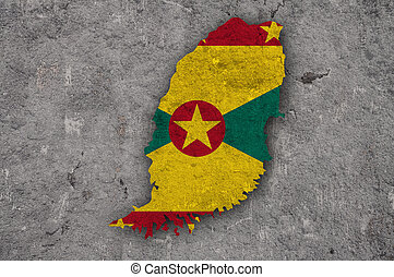 Map and flag of Grenada on weathered concrete