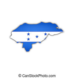 map and flag of honduras with shadow on white background