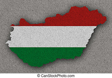 Map and flag of Hungary on felt