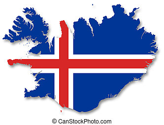 A 2D illustration of a map with a flag of Iceland