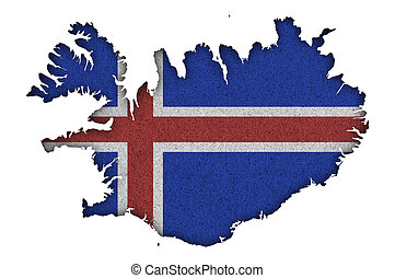 Map and flag of Iceland on felt