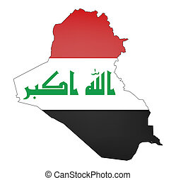 iraq - map and flag of iraq on white background